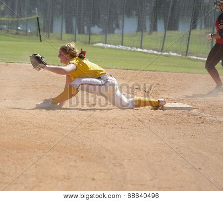 Girls Playing Softball