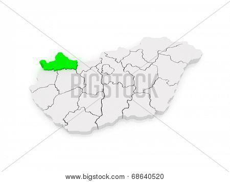 Map of Gyor-Moson-Sopron. Hungary. 3d