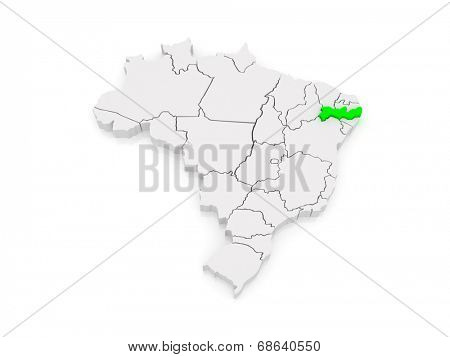 Map of Pernambuco. Brazil. 3d