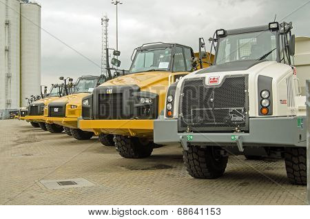 CAT trucks at Southampton docks