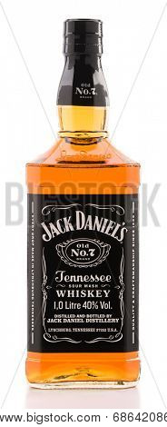Ankara, Turkey - June 02, 2012: Bottle of Jack Daniels bourbon whiskey isolated on white background.