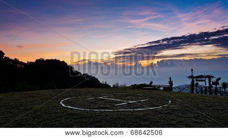 Helipad At Sunrise On Doi Ang Khang