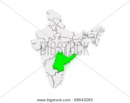 Map of Andhra Pradesh. India. 3d