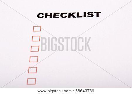 Checklist On White