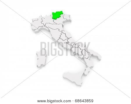 Map of Trentino - Alto Adige. Italy. 3d