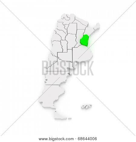 Map of Entre Rios. Argentina. 3d