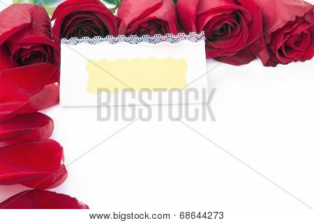 Blank Gift Card  In The Frame Of Red Roses