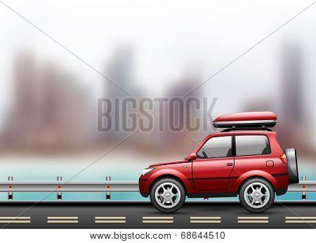 Car on the road against the background of the modern city to the beach. Vector illustration.