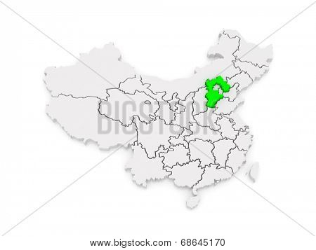 Map of Hebei. China. 3d