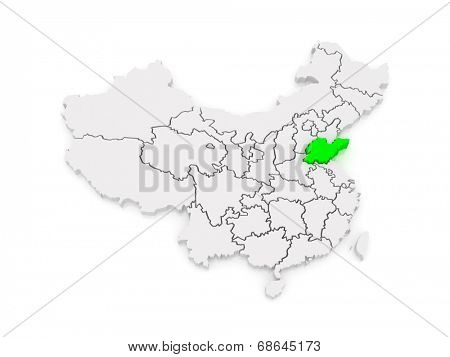 Map of Shandong. China. 3d