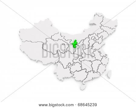 Map of Ningxia Hui Autonomous Region. China. 3d