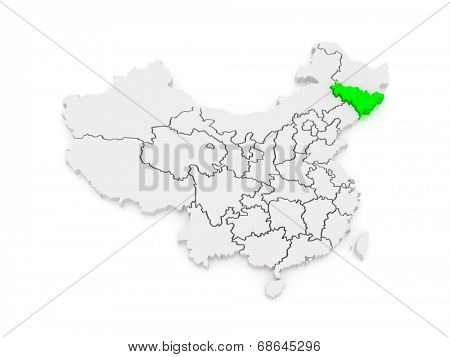 Map of Jilin. China. 3d