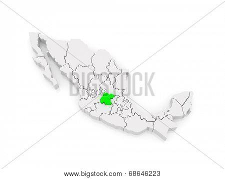 Map of Guanajuato. Mexico. 3d
