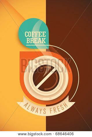 Coffee break poster design. Vector illustration.