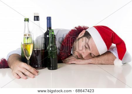 Drunk Businessman Asleep After Drinking To Much At His Xmas Part