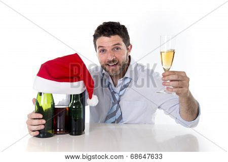 Drunk Businessman happy After Drinking To Much At His Xmas Part