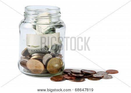 Money on the bottle,dollar,isolated  white