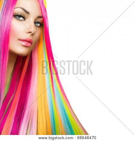 Colorful Hair and Makeup. Beauty Fashion Model Girl with Colorful Dyed Hair. Colourful Long Hair and Make up for blue eyes. Portrait of a Beautiful Girl with Dyed Hair, professional hair Coloring