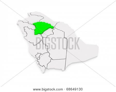 Map of Hail. Saudi Arabia. 3d