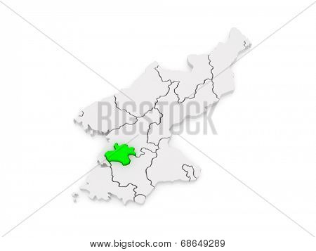 Map of Pyongyang Chikhalsi. North Korea. 3d