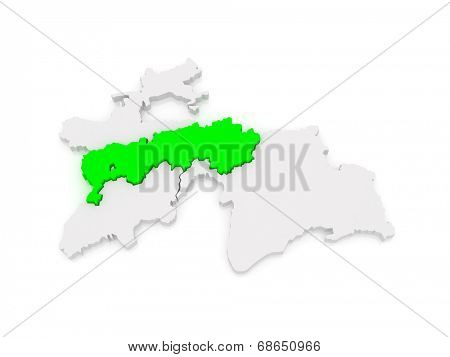 Map of Districts of Republican Subordination  Tajikistan. 3d