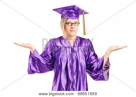 Woman in graduation gown gesturing uncertainty isolated on white background
