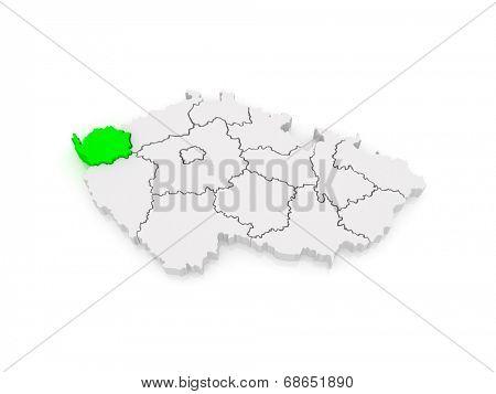 Map of Karlovy Vary Region. Czech Republic. 3d