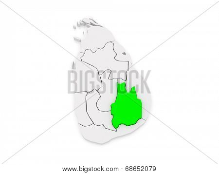 Map of Uva. Sri Lanka. 3d