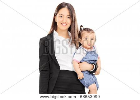 Single mother holding her baby daughter isolated on white background