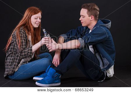 Naughty Teenagers Drinking Alcohol