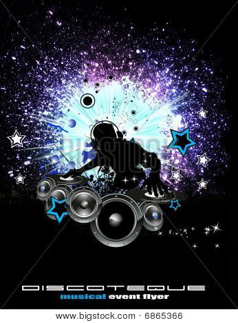 Music Event Background With Dj Shape
