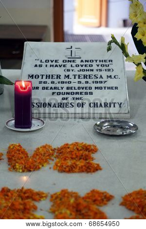 KOLKATA, INDIA - FEB 07, 2014: Tomb of Blessed Teresa of Calcutta, commonly known as Mother Teresa (26 August 1910�5 September 1997), was Catholic missionary who lived for most of her life in India