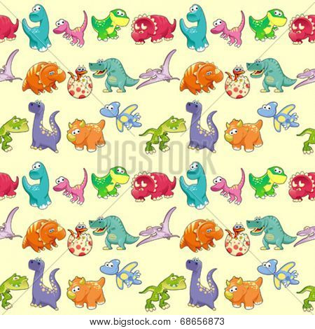 Group of funny dinosaurs with background. The sides repeat seamlessly for a possible packaging or graphic