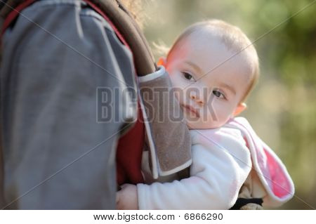Little Baby Girl Sitting In A Baby Carrier