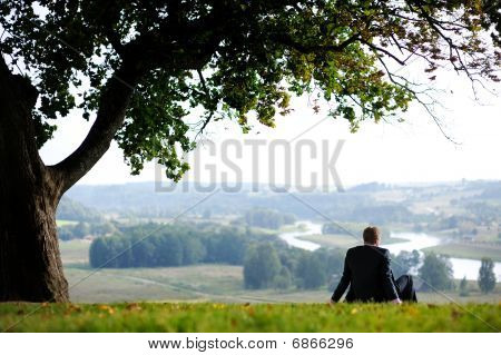 Business Man Resting Under An Oak
