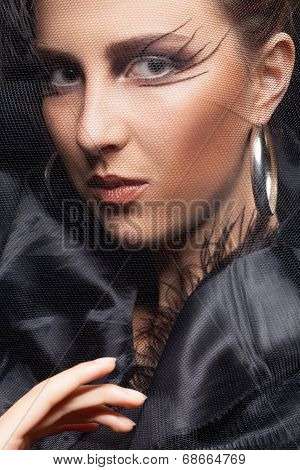 Gorgeous Woman Gothic Style Make Up