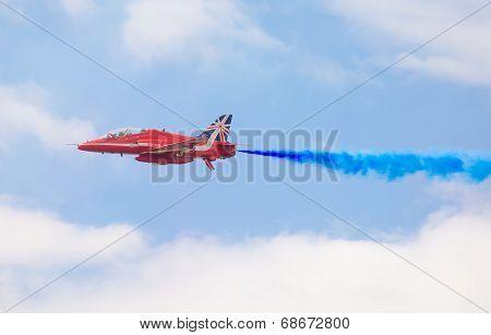 Tallinn Bay, Estonia - 23 June, Red Arrows Royal Air Force Aerobatic Display Above Tallinn Bay At 23