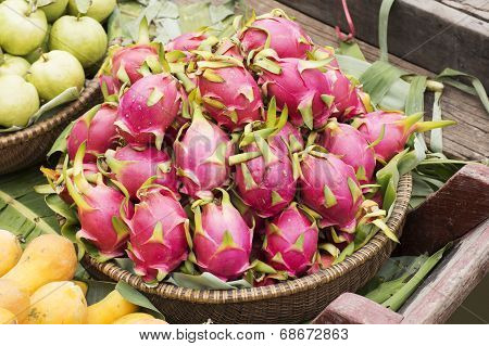 Pink Pitahaya Dragon Fruit In Basket