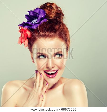 Redhead model clip of flowers , happy and surprised emotion