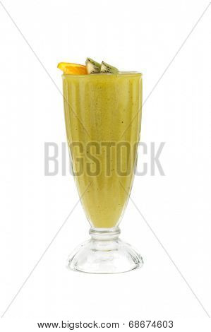 kiwi and passionfruit ice cocktail on a white