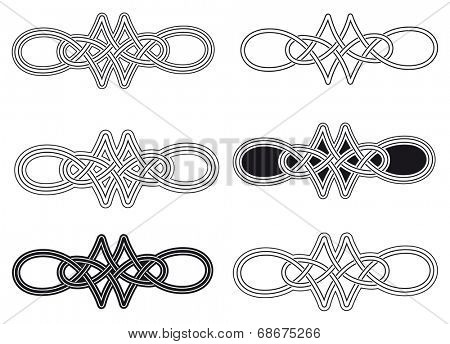 Celtic knot six different arrangements