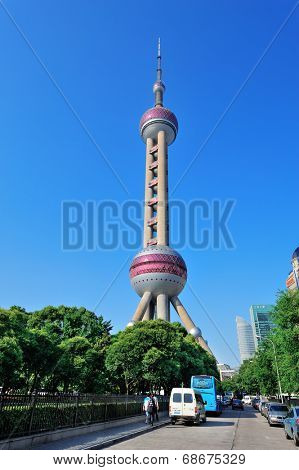 SHANGHAI, CHINA - MAY 28: Oriental Pearl Tower closeup on May 28, 2012 in Shanghai, China. The tower was the tallest structure in China excluding Taiwan from 1994�?�?�?�¨C2007 and the landmark of Shanghai.