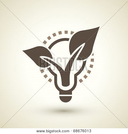 Ecology Flat Icon With Bulb And Plant Elements