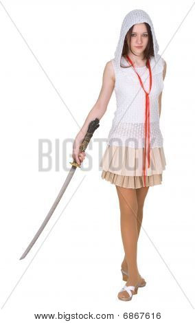 Female Teenager With Traditional Japanese Sword - Katana