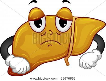 Mascot Illustration Featuring a Sickly Liver
