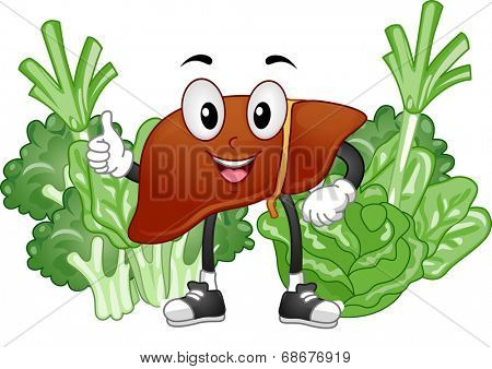 Mascot Illustration Featuring a Healthy Liver Surrounded by Vegetables