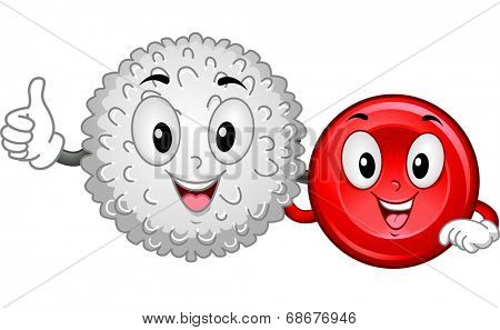 Mascot Illustration Featuring a White Blood Cell and a Red Blood Cell Hanging Together
