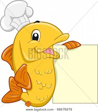 Mascot Illustration Featuring a Fish Wearing a Toque Leaning Against a Blank Menu Board