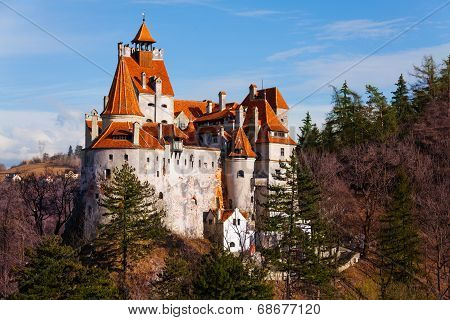 Beautiful Bran Castle from hilltop in Romania
