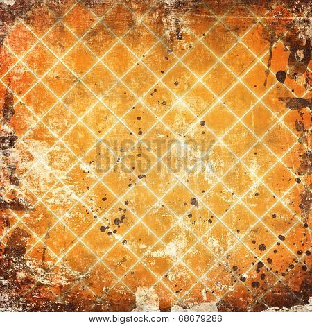 Gird On Grunge Orange Background